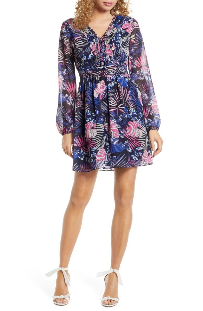 SAM EDELMAN Tropics Floral Print Dress, Main, color, PURPLE MULTI