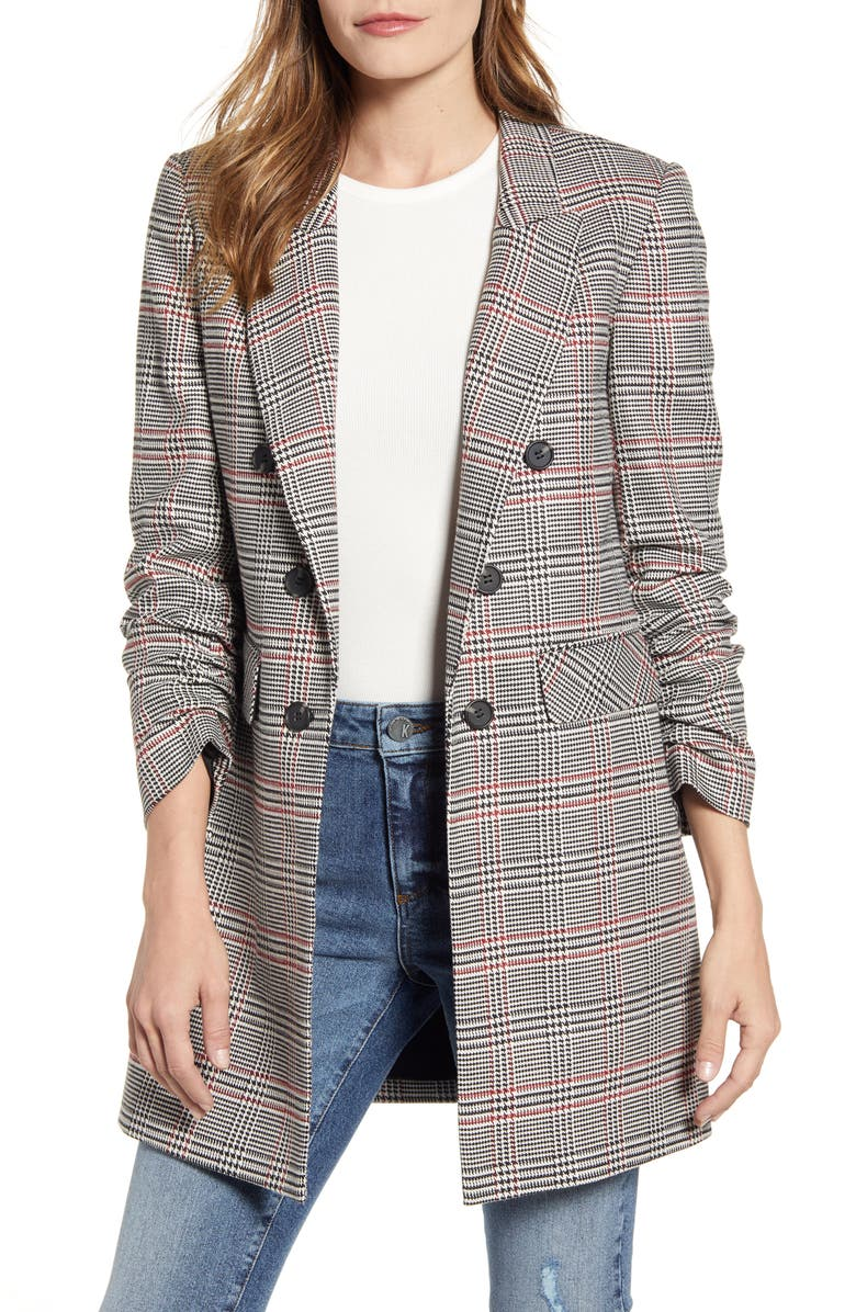 1.STATE Ruched Sleeve Plaid Blazer, Main, color, GREY