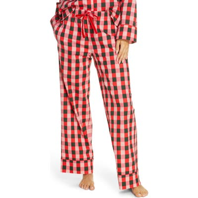 Ban. do Buffalo Check Cotton Poplin Pajama Pants, Pink
