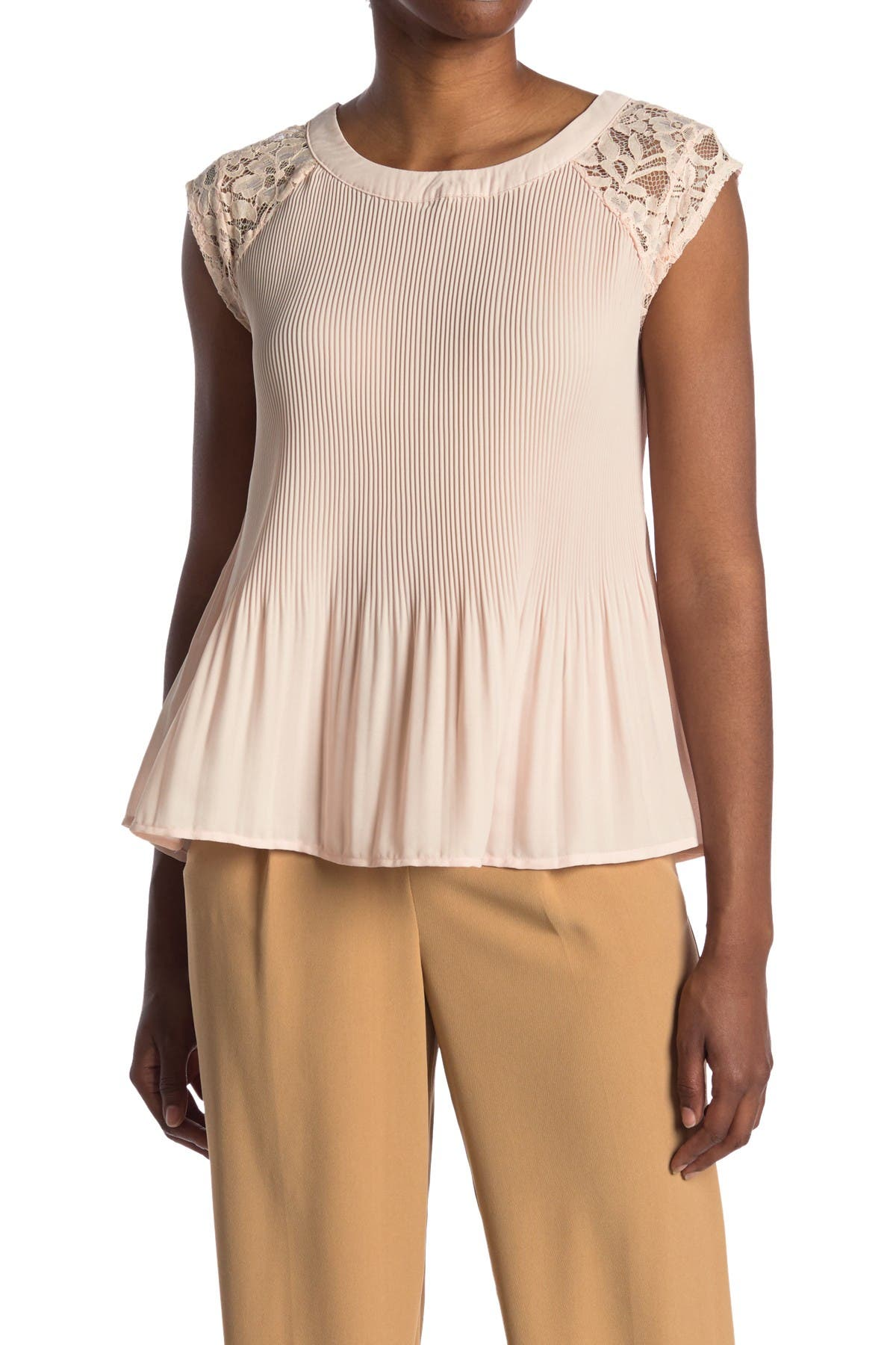 Image of Chenault Woven Lace Shoulder Top