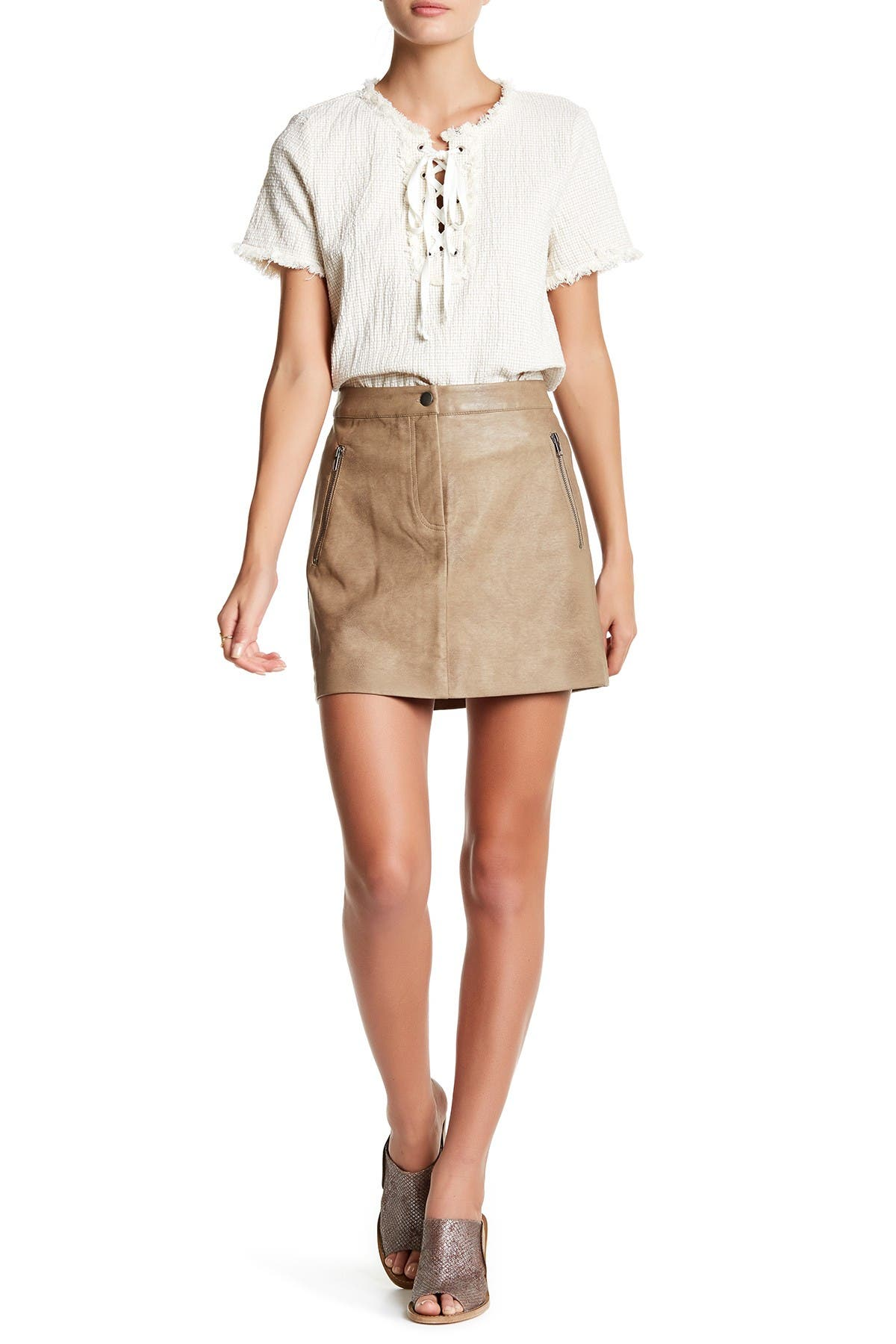 Image of J.O.A. Faux Leather Skirt