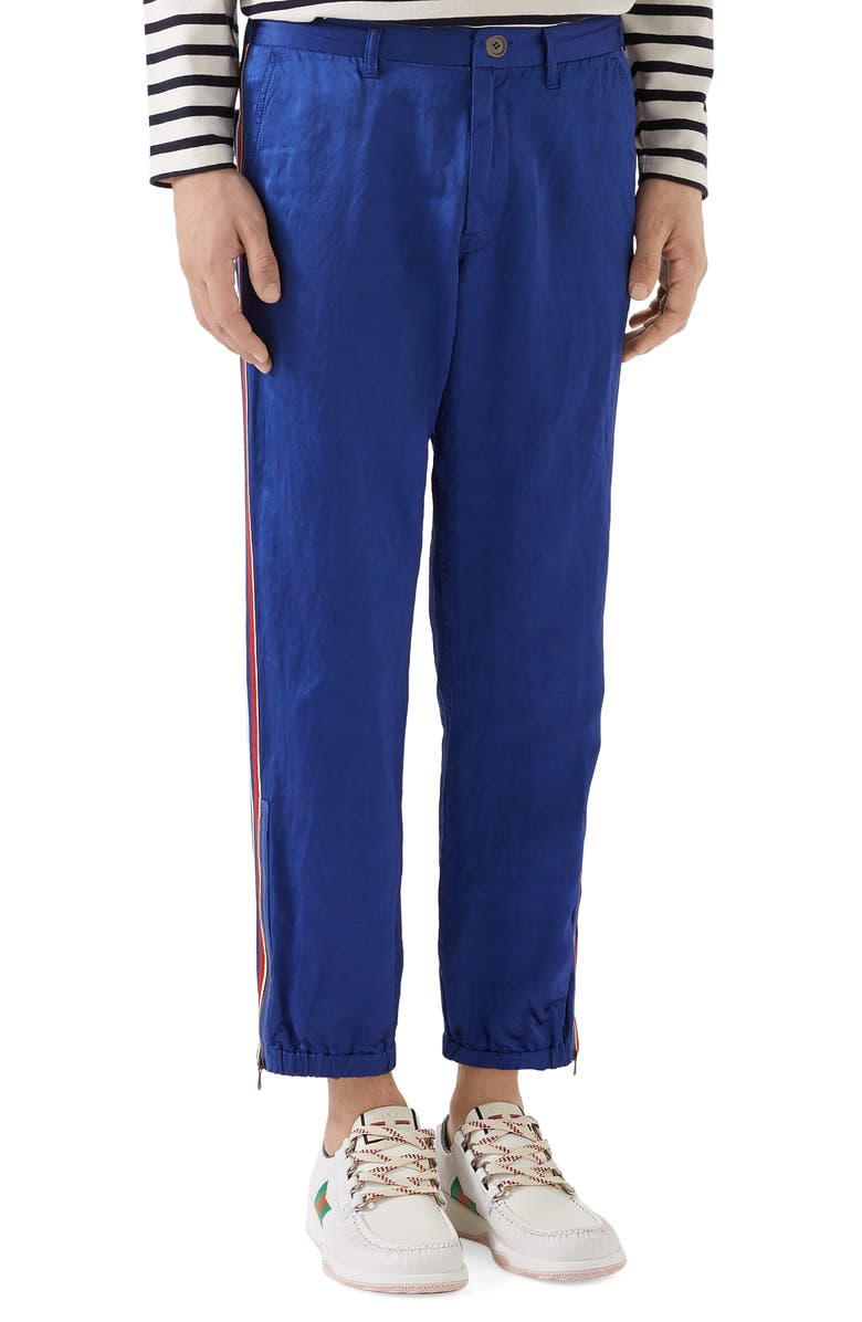 GUCCI Flying Tiger Satin Jogging Pants, Main, color, ELECTRIC BLUE/ MC