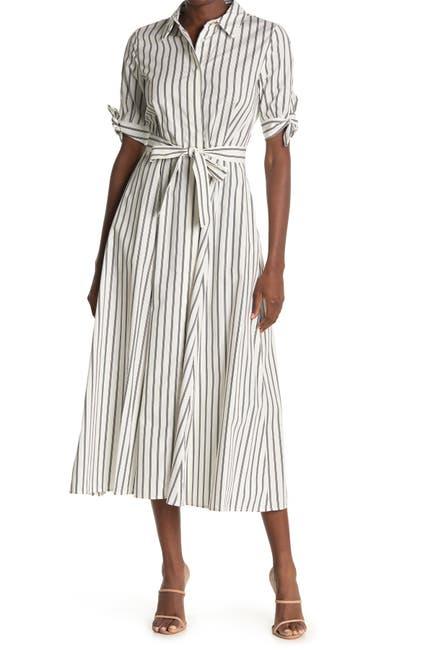 Image of Calvin Klein Stripe Maxi Shirt Dress
