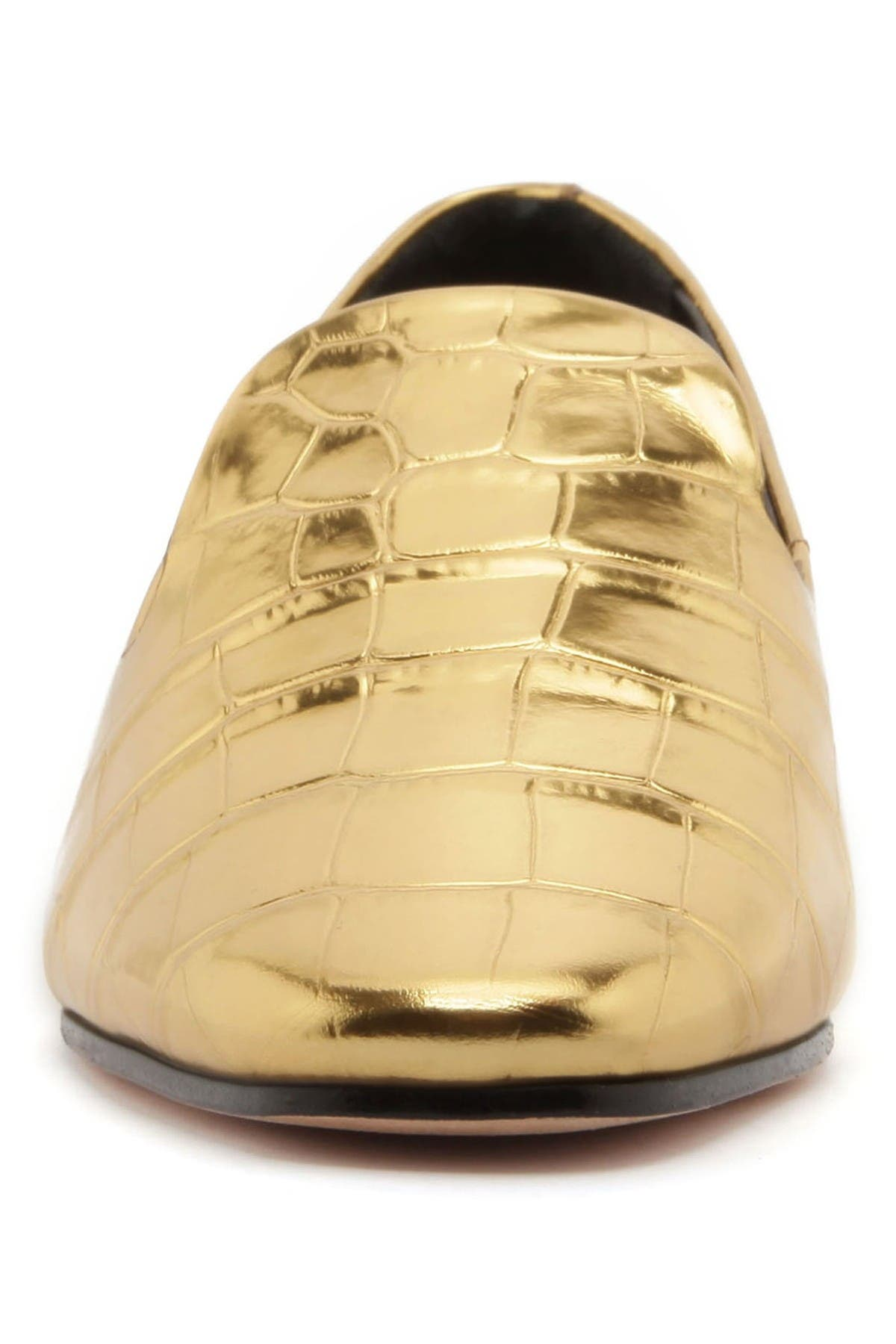 Image of Schutz Flor Metallic Croc Embossed Leather Loafer
