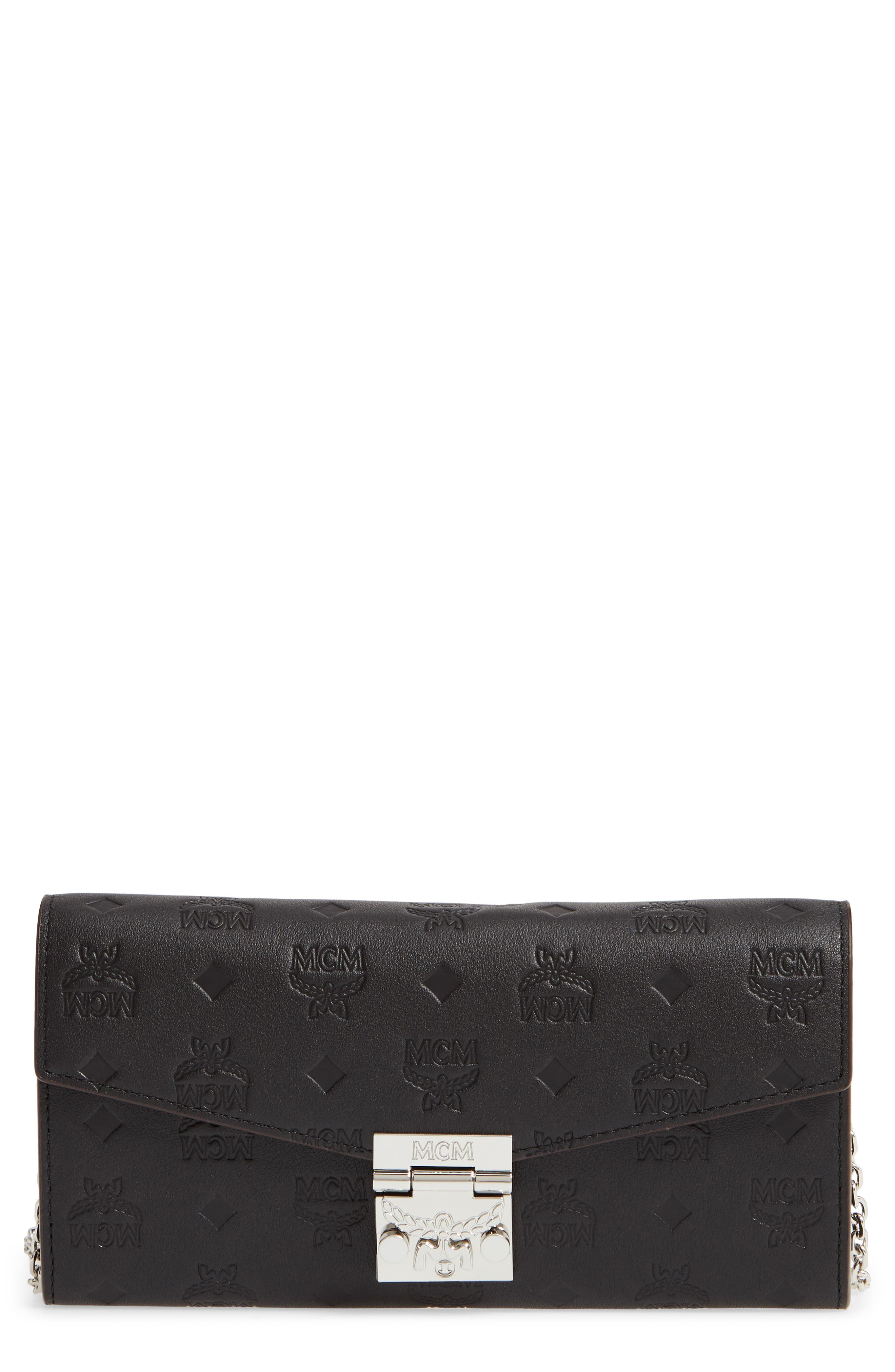 Patricia Monogram Leather Wallet on a Chain, Main, color, BLACK