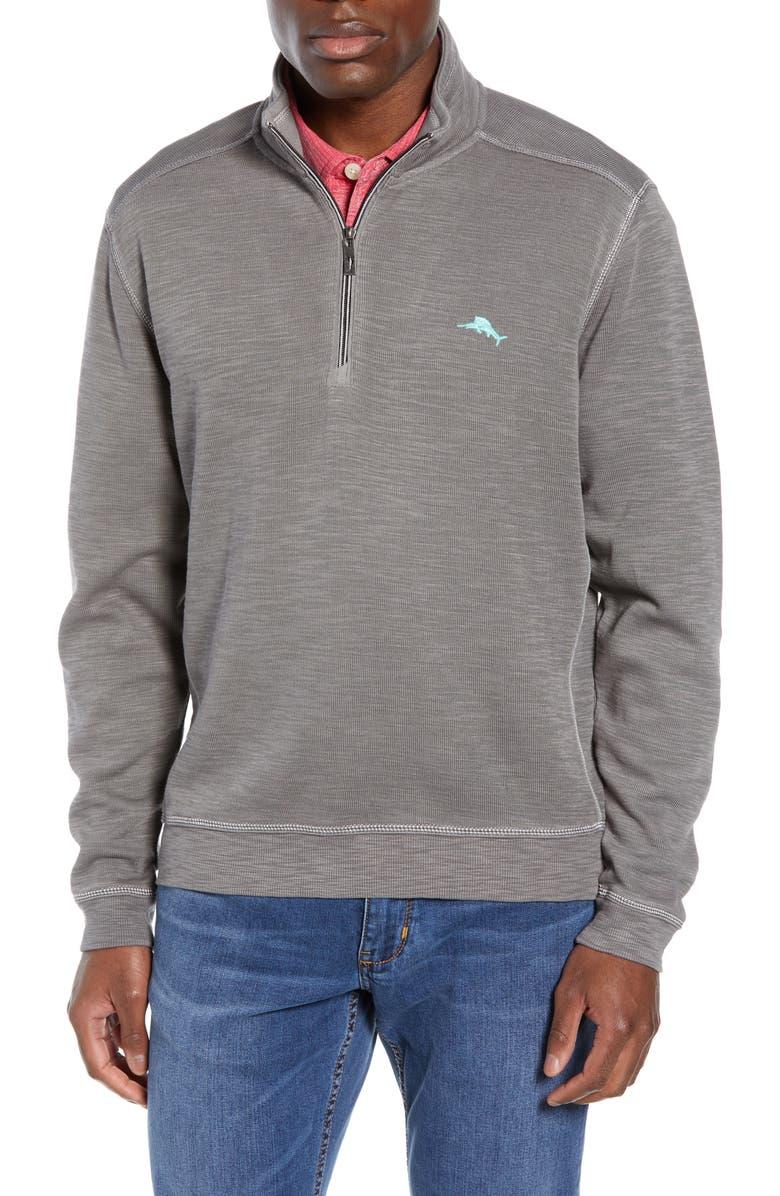 TOMMY BAHAMA Tobago Half Zip Pullover, Main, color, BALA SHARK
