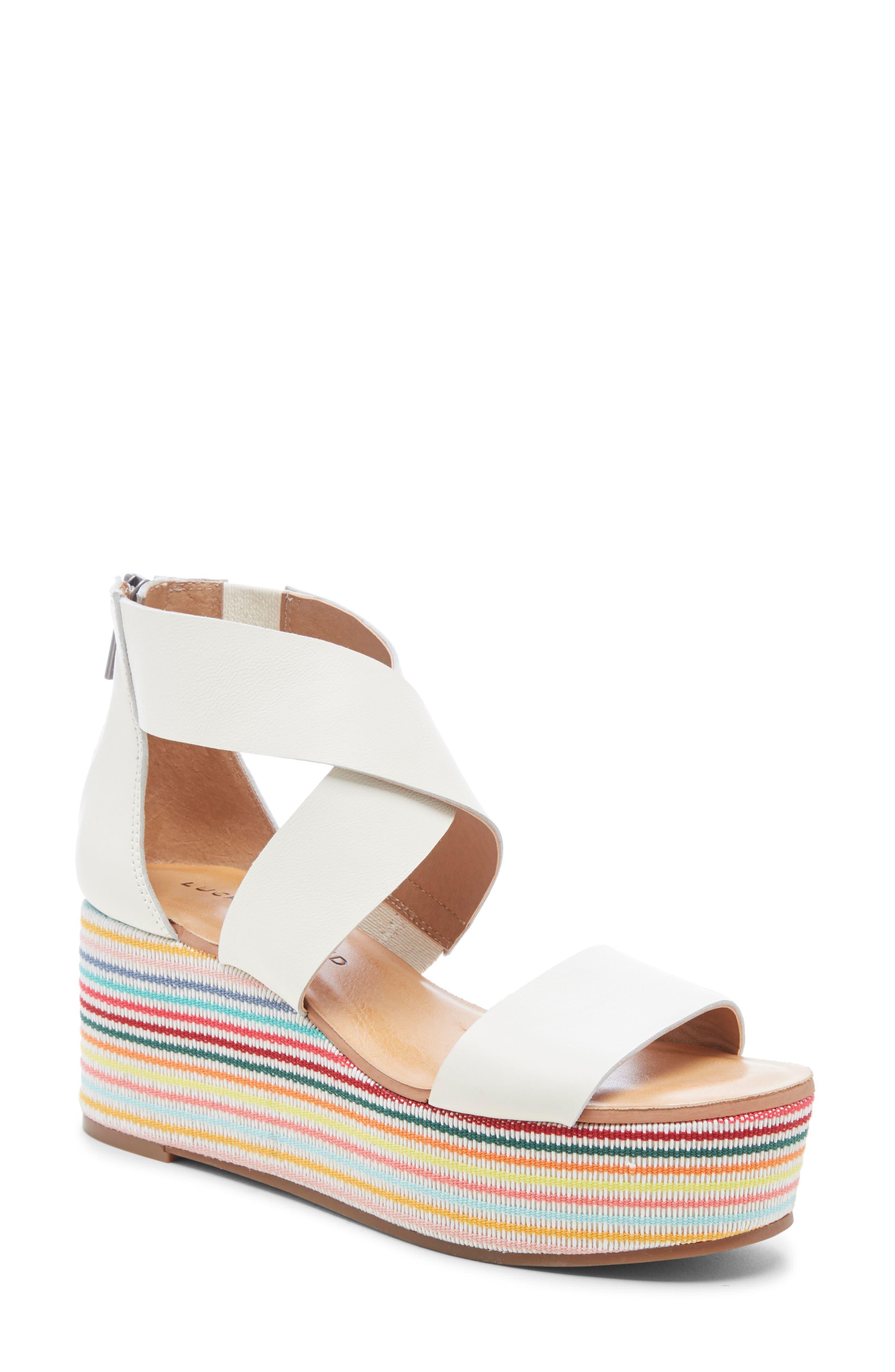 Lucky Brand Gwindolin Platform Wedge Sandal- White