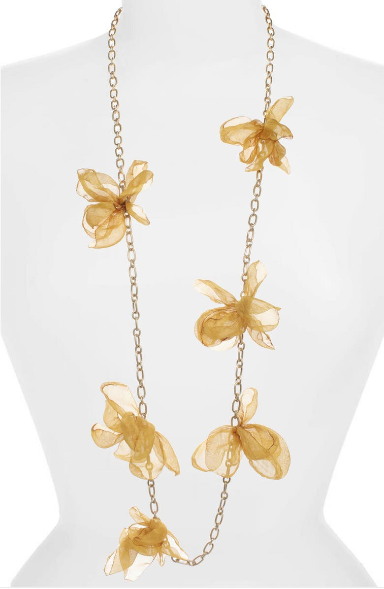 STELLA + RUBY Chiffon Petal Necklace, Main, color, GOLD-MARIGOLD