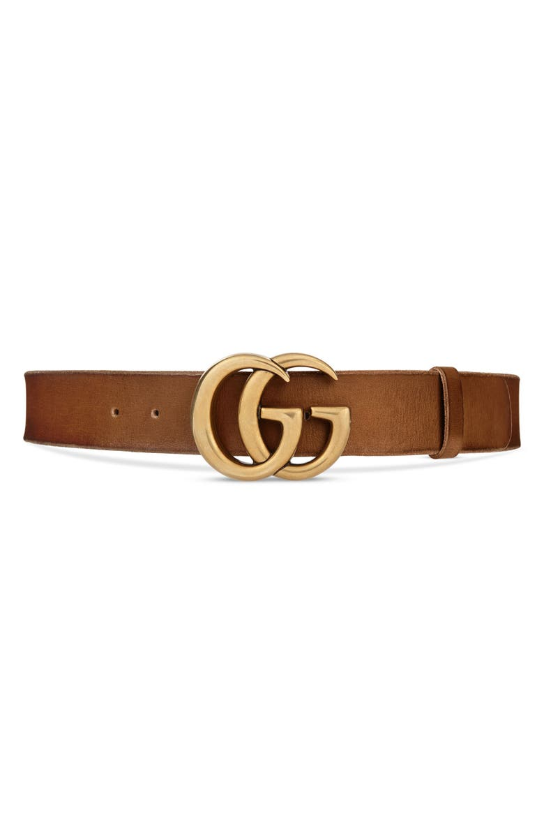 GUCCI Logo Leather Belt, Main, color, CUIR