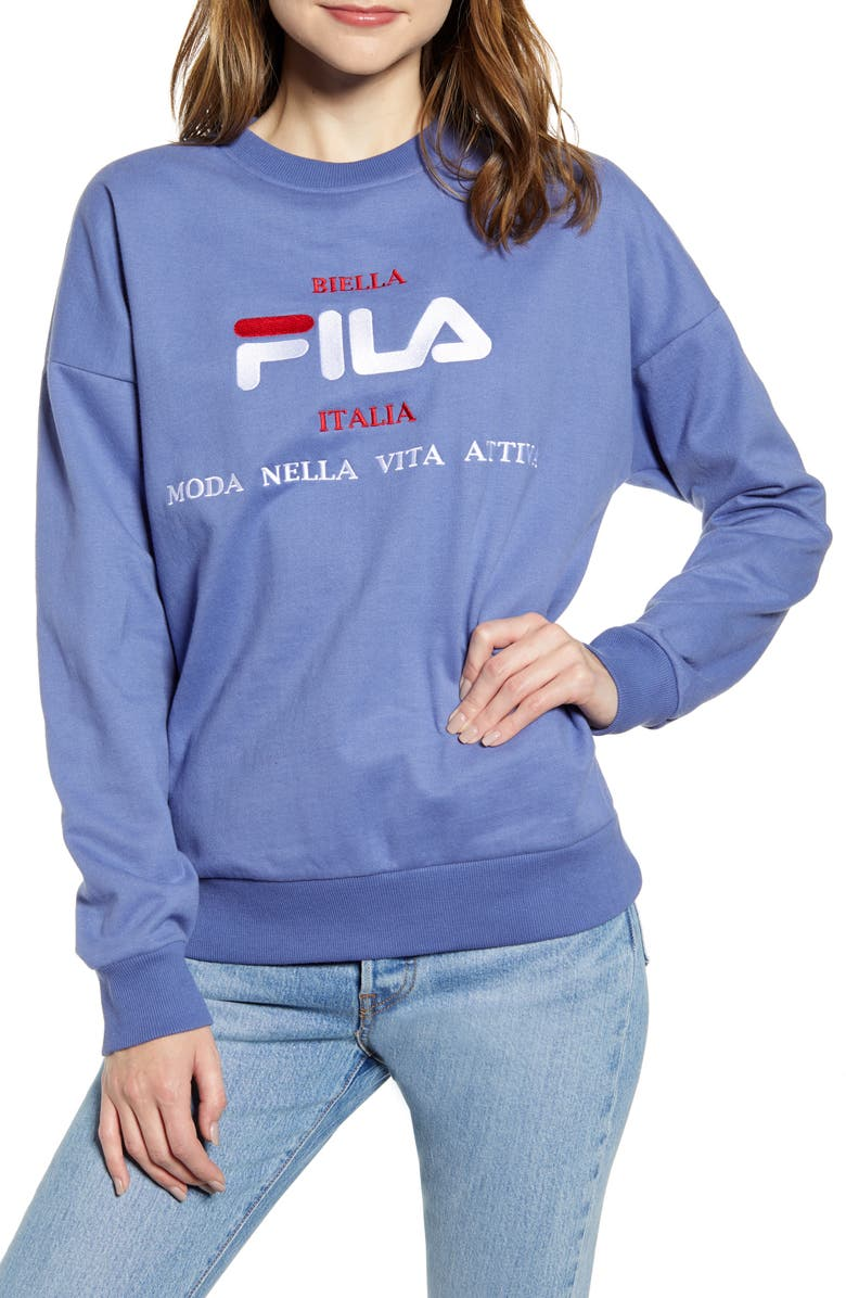 FILA Kimi Graphic Crewneck Sweatshirt, Main, color, MARLIN/ WHITE/ CHINESE RED