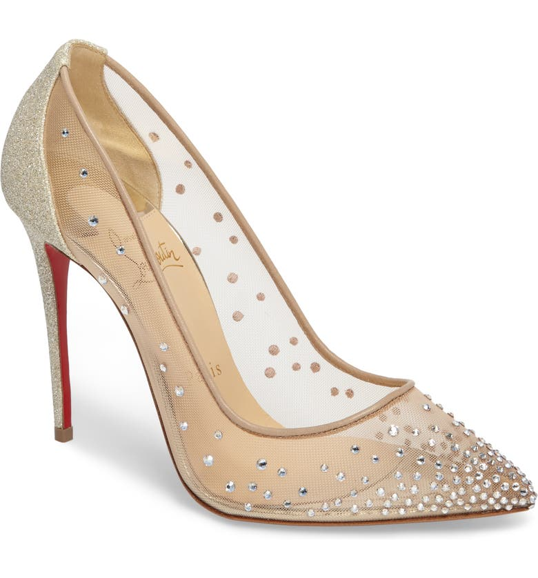 CHRISTIAN LOUBOUTIN Follies Strass Pump, Main, color, BEIGE
