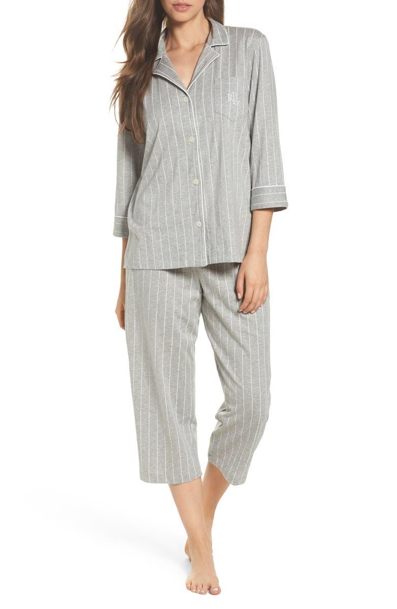 LAUREN RALPH LAUREN Knit Crop Cotton Pajamas, Main, color, GREYSTONE