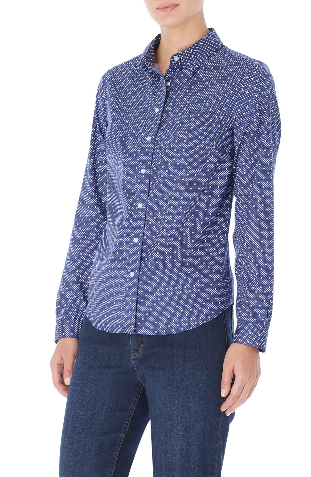 Dot Button-Up Cotton Shirt