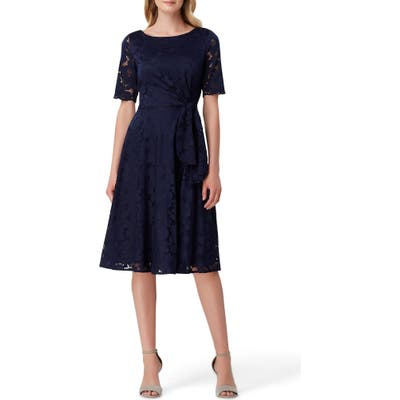 Tahari Lace Fit & Flare Dress, Blue