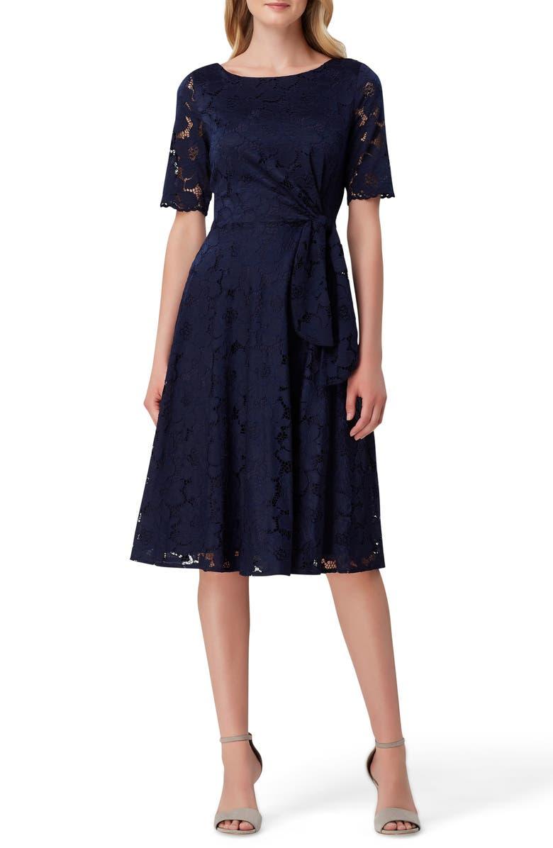 TAHARI Lace Fit & Flare Dress, Main, color, 412