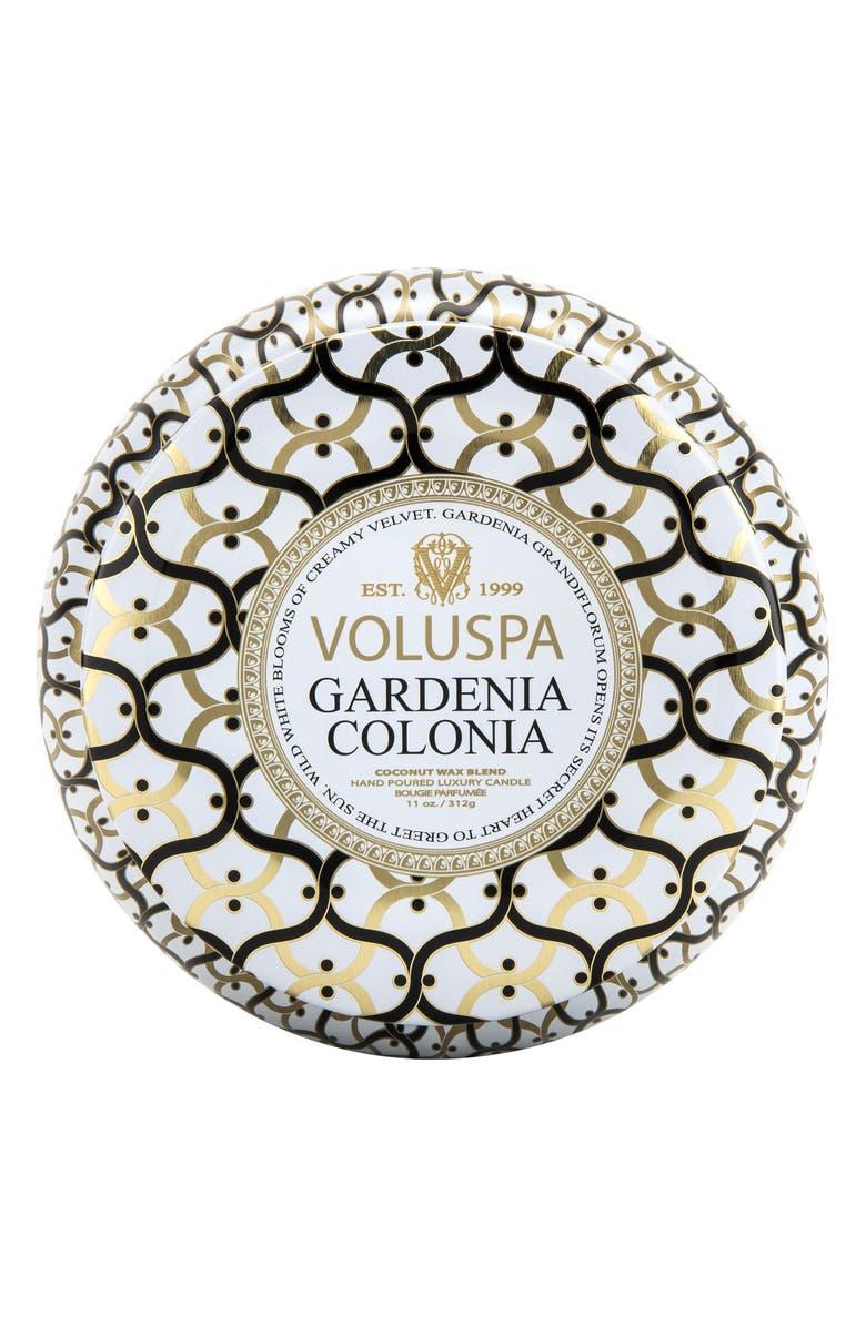 VOLUSPA Maison Blanc Gardenia Colonia Maison Metallo Two-Wick Candle, Main, color, 000