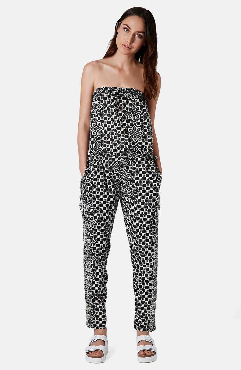 TOPSHOP Tile Print Strapless Jumpsuit, Main, color, 001