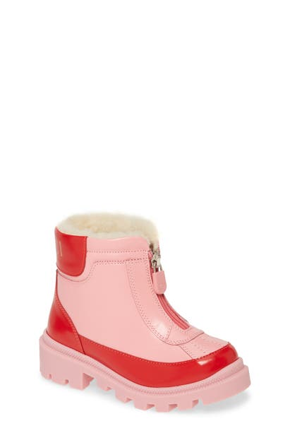 Gucci Leather Zip Front Boots, Toddler/kids In Pink