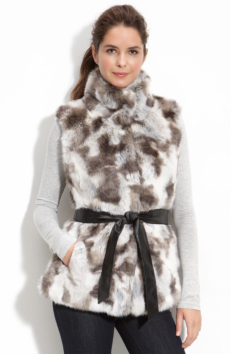 KRISTEN BLAKE Belted Faux Fur Vest, Main, color, 020