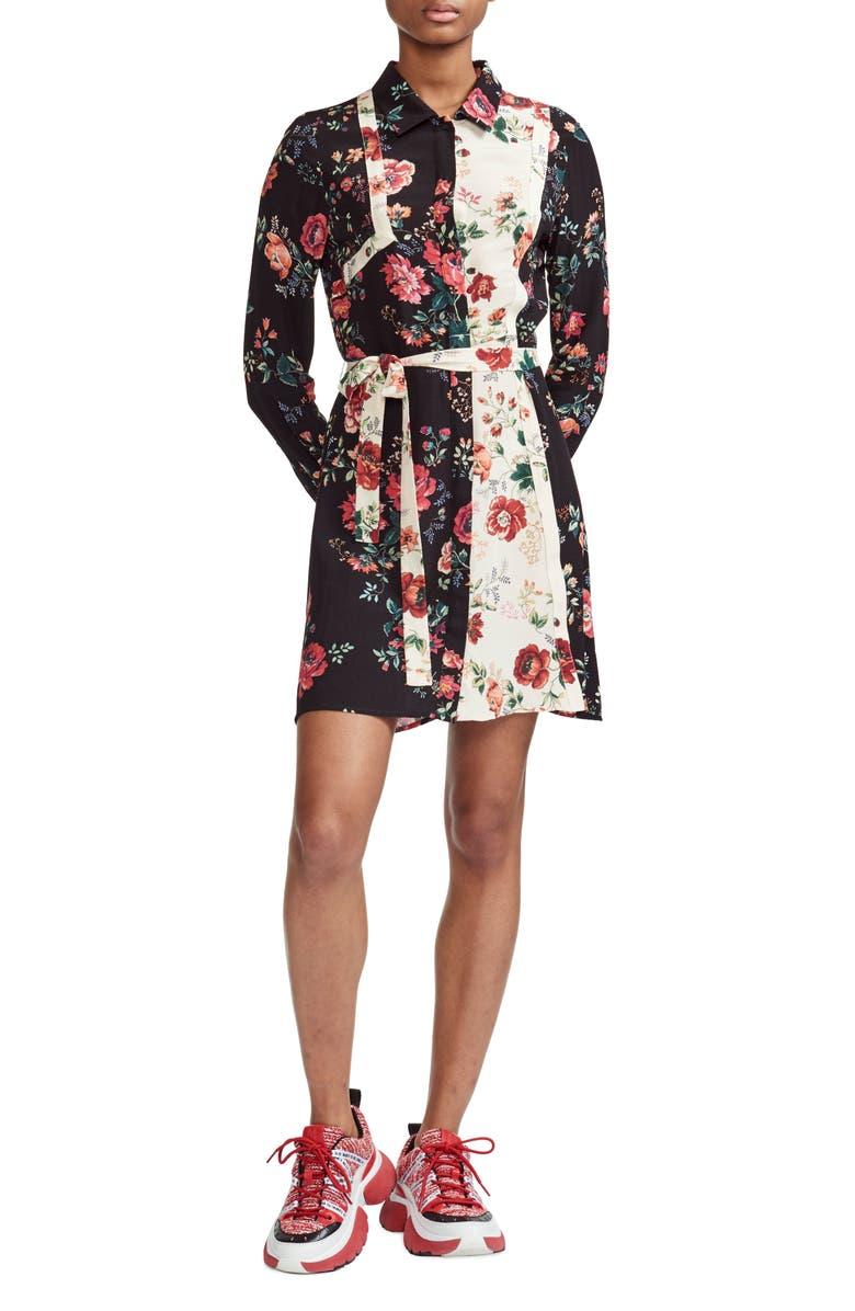 MAJE Riller Two-Tone Floral Print Shirtdress, Main, color, 001