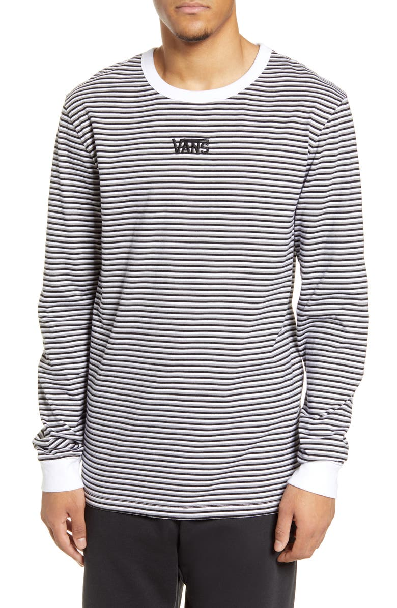 VANS Microstripe Embroidered Long Sleeve T-Shirt, Main, color, 100