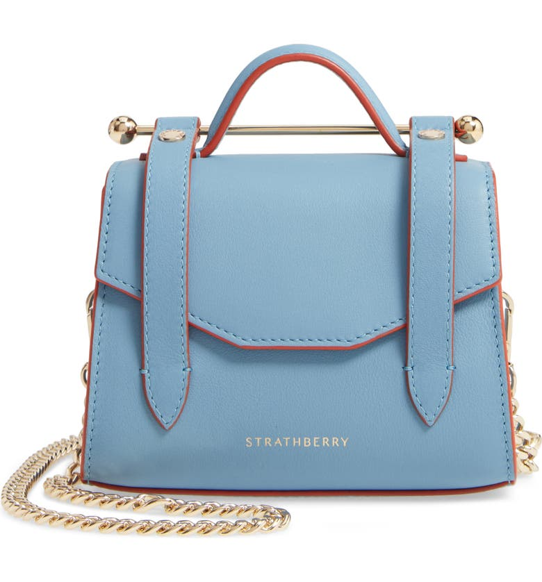 STRATHBERRY Micro Allegro Calfskin Leather Tote, Main, color, ALICE BLUE