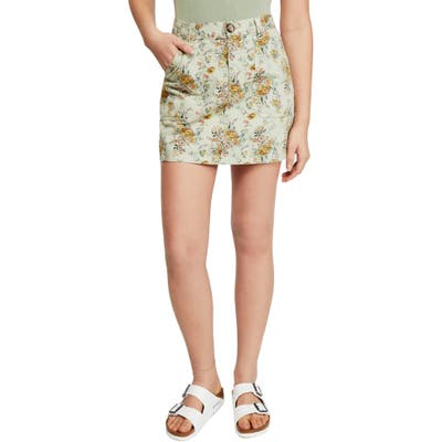 Bdg Urban Outfitters Floral Twill Carpenter Miniskirt, Green
