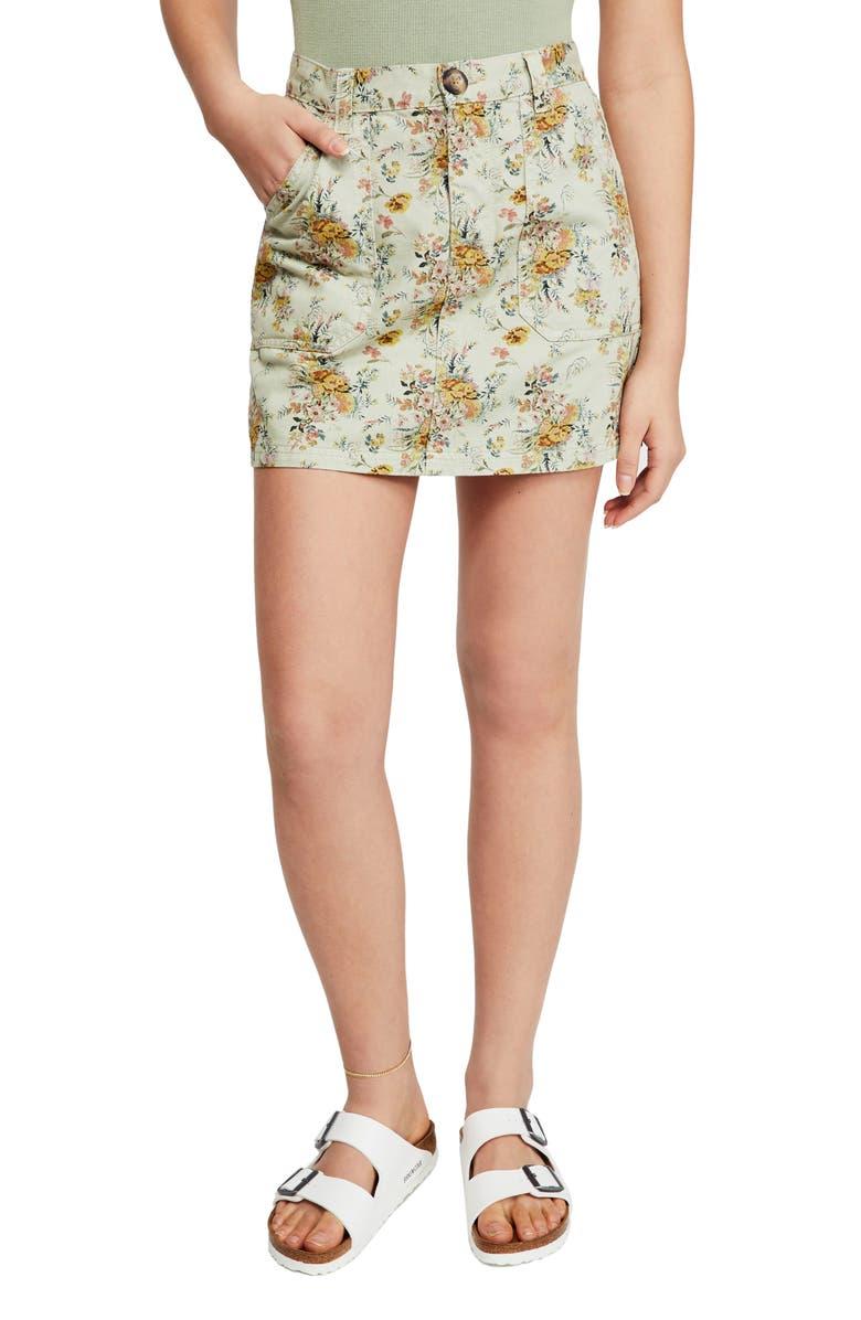 BDG Urban Outfitters Floral Twill Carpenter Miniskirt, Main, color, PISTACHIO FLORAL