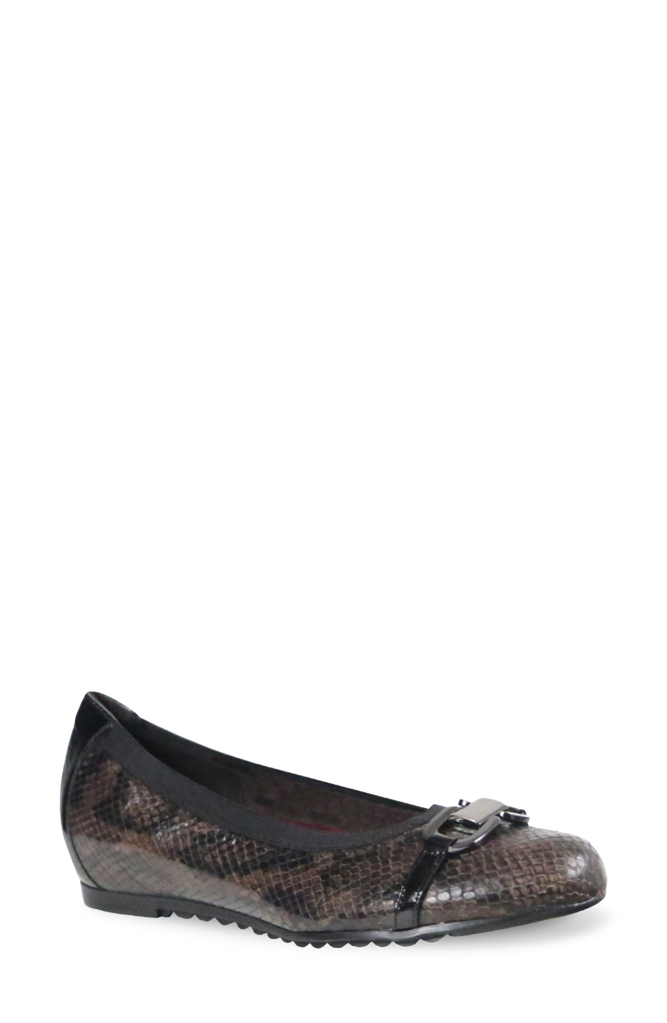 Snake-print leather and metallic hardware lend eye-catching appeal to a ballet flat built for comfort with a stretch topline and breathable lining. Style Name: Munro Ivy Ii Ballet Flat (Women). Style Number: 6093593. Available in stores.