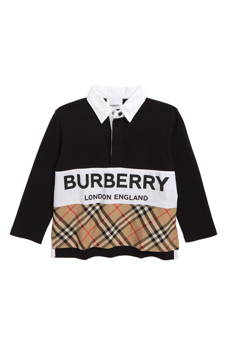 BURBERRY Quentin Mixed Media Polo, Main, color, BLACK
