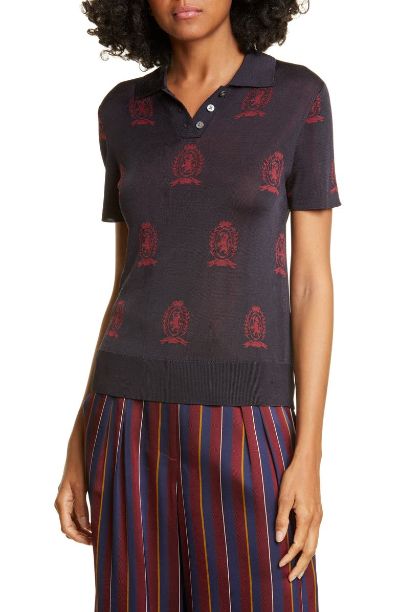 HILFIGER COLLECTION Crest Jacquard Polo, Main, color, DEEP WELL