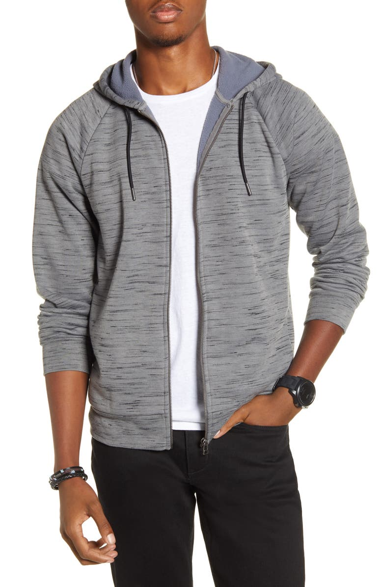 BP. x Alex Costa Space Dye Raglan Zip Hoodie, Main, color, GREY DECEMBER/BLACK