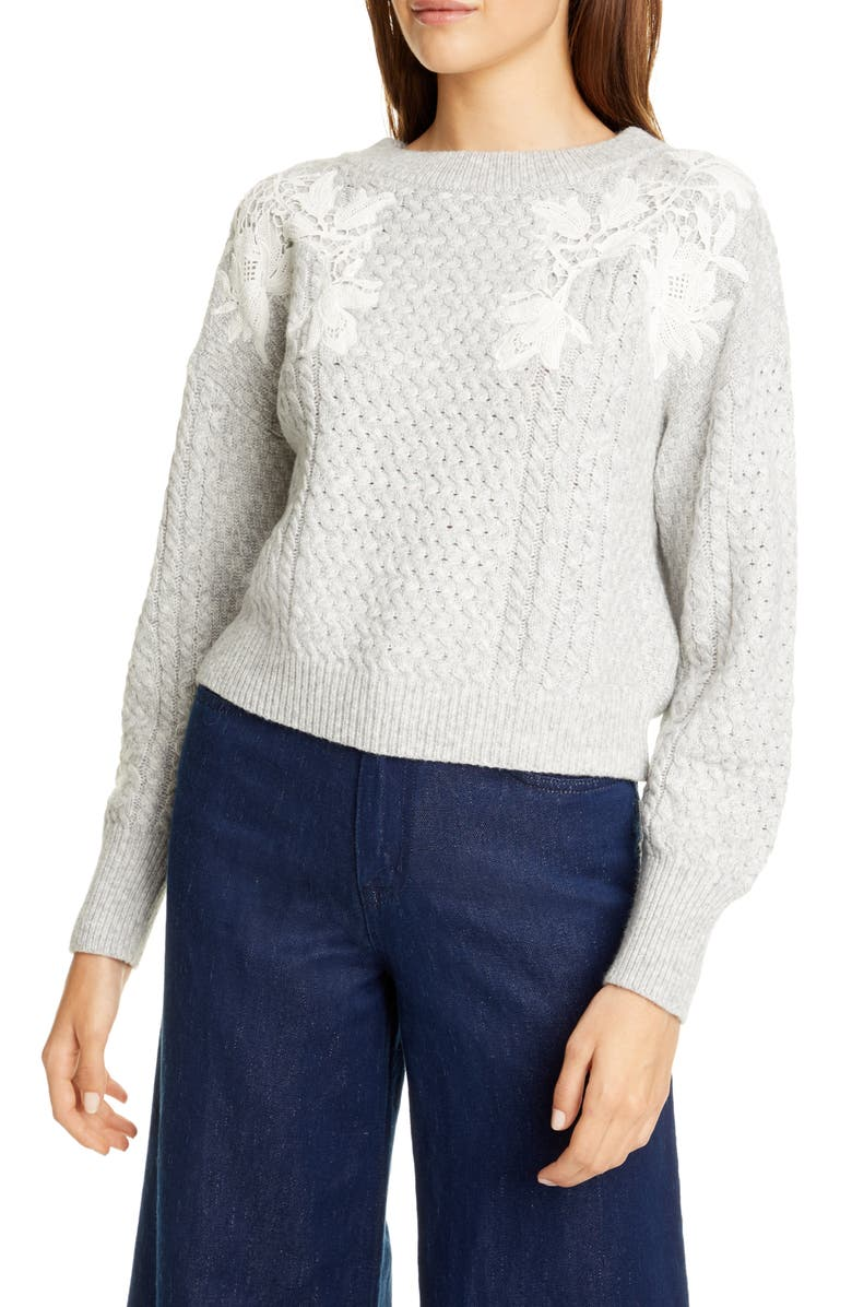 REBECCA TAYLOR Lace Appliqué Crewneck Sweater, Main, color, HEATHER GREY