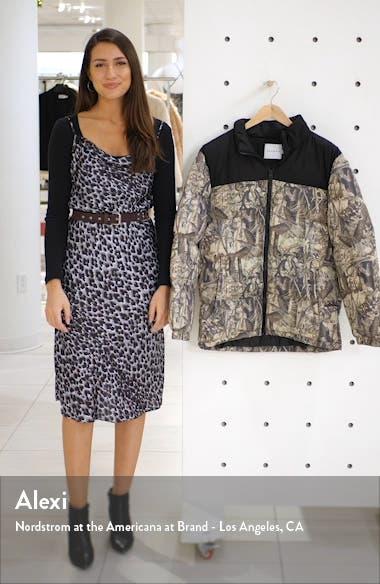 Classic Fit Foliage Print Puffer Coat, sales video thumbnail