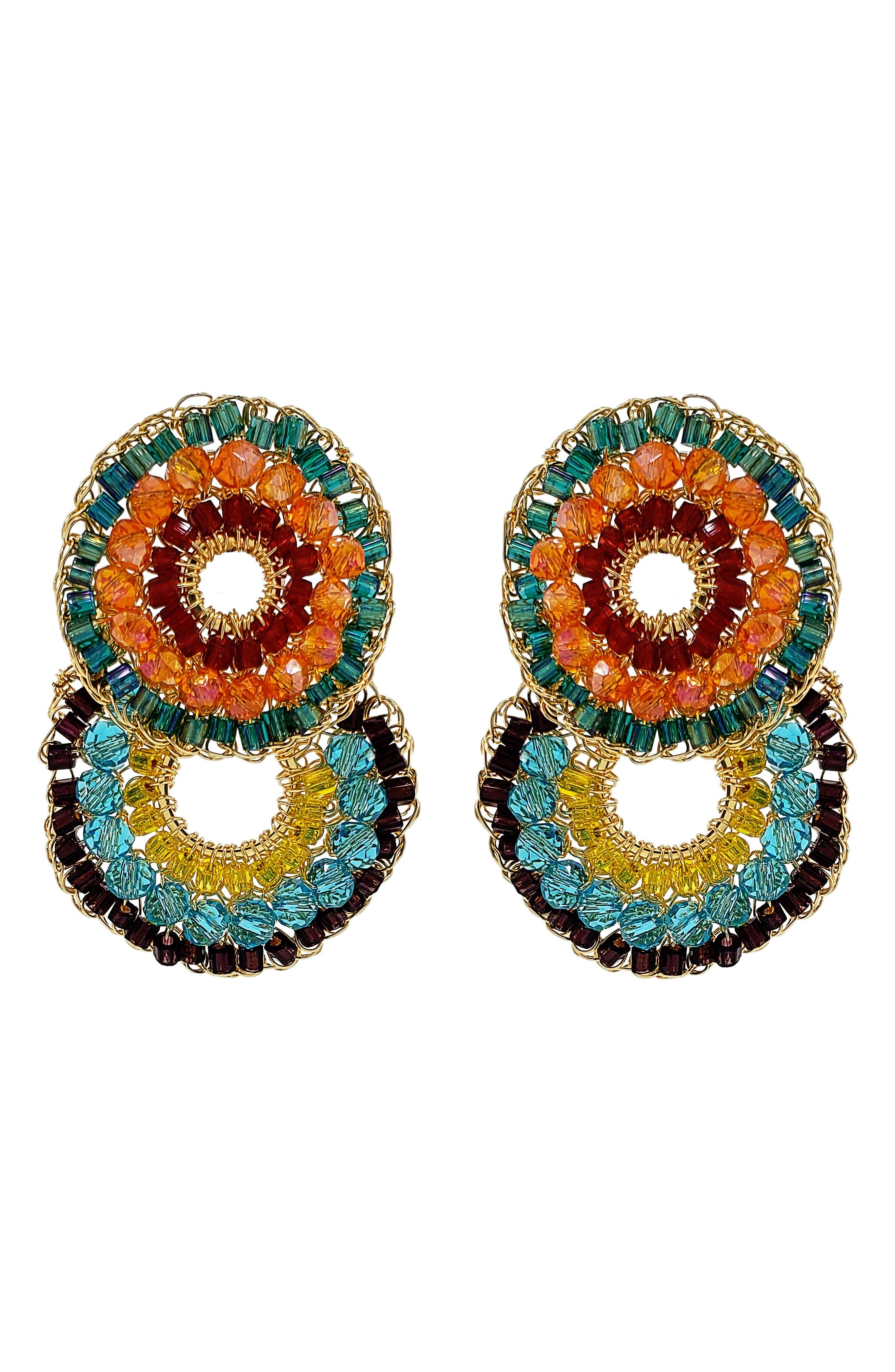 Beaded Crochet Drop Earrings