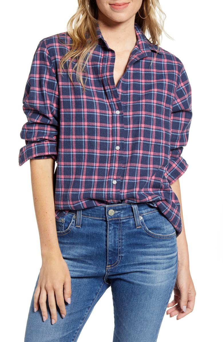 GRAYSON The Hero Feathered Flannel Shirt, Main, color, LESLIE