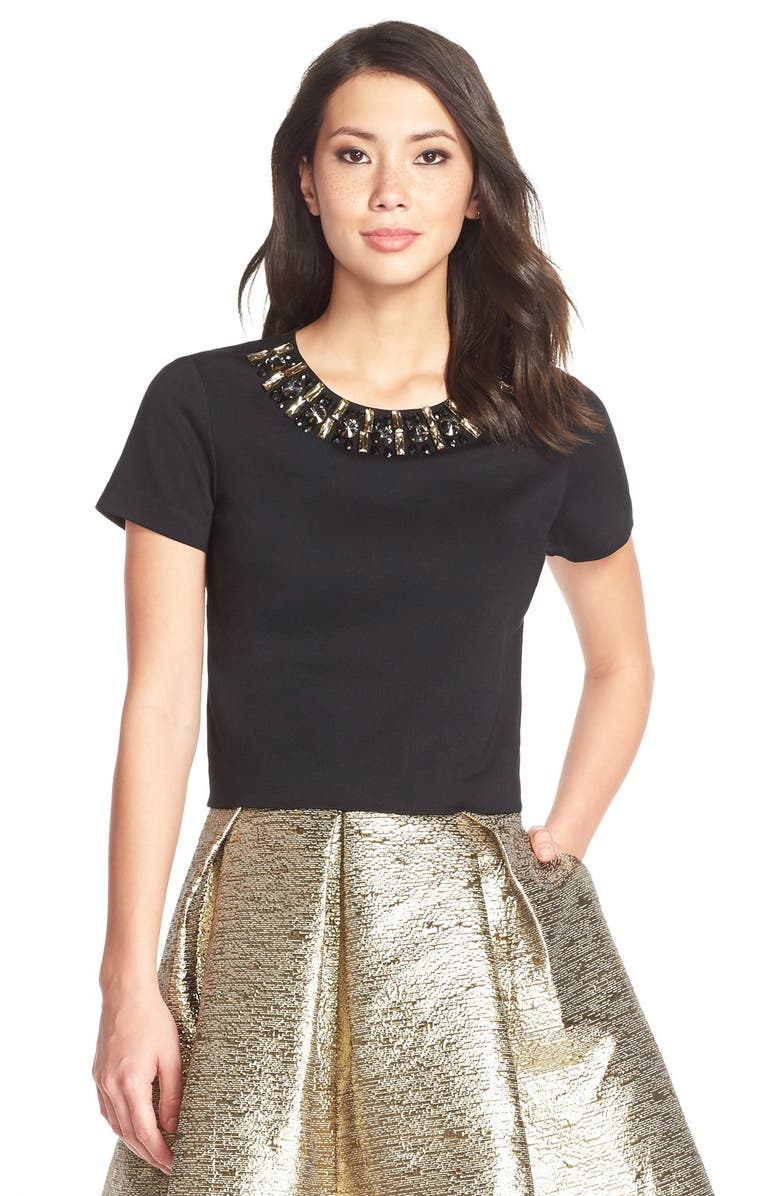 ELIZA J Embellished Ponte Blouse, Main, color, 001