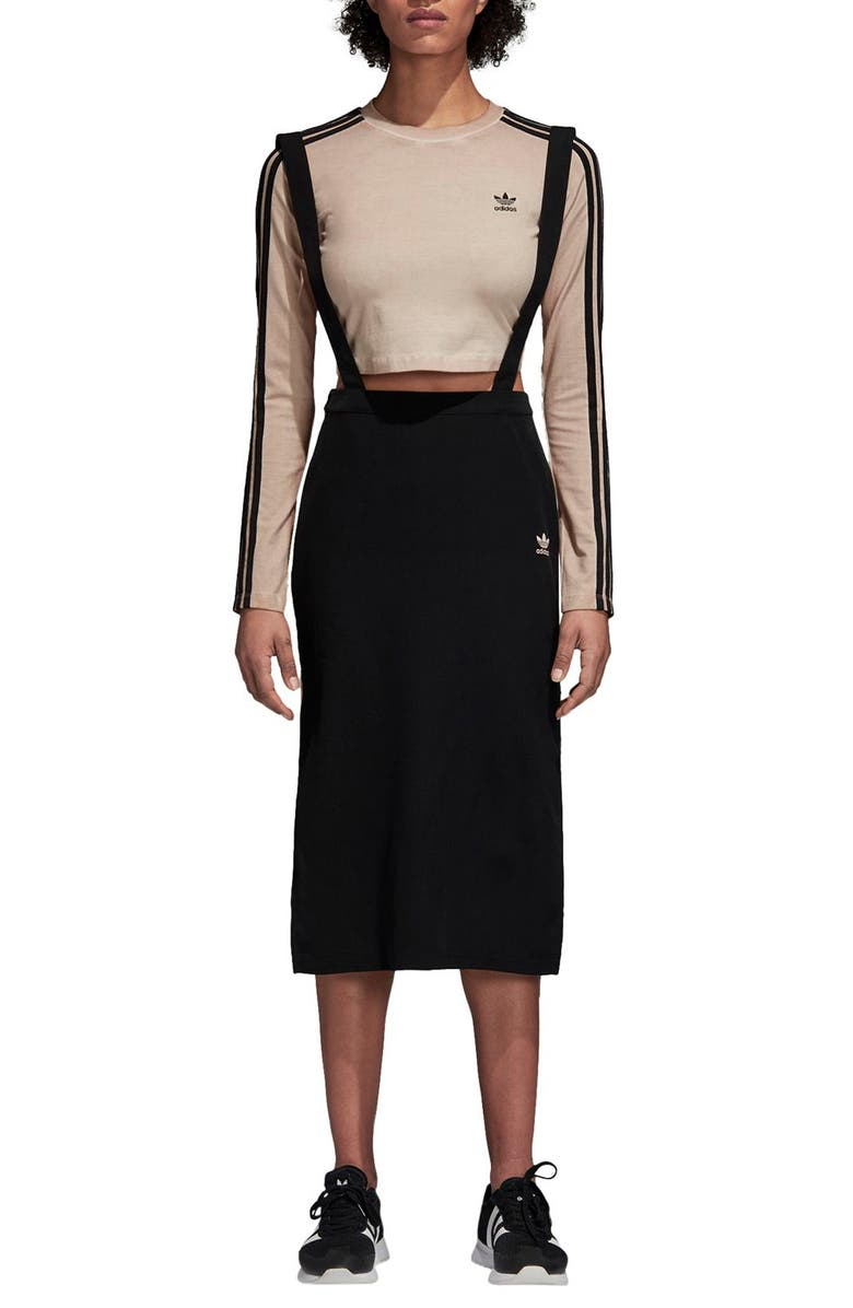 ADIDAS ORIGINALS Midi Skirt with Shoulder Straps, Main, color, 001