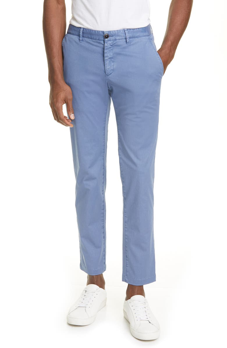 EIDOS Flat Front Slim Fit Stretch Cotton Chino Trousers, Main, color, OCEAN BLUE