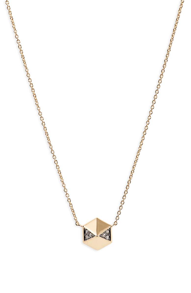 HARWELL GODFREY Diamond Pavé Hexagon Pendant Necklace, Main, color, YELLOW GOLD/ DIAMOND/ BLACK