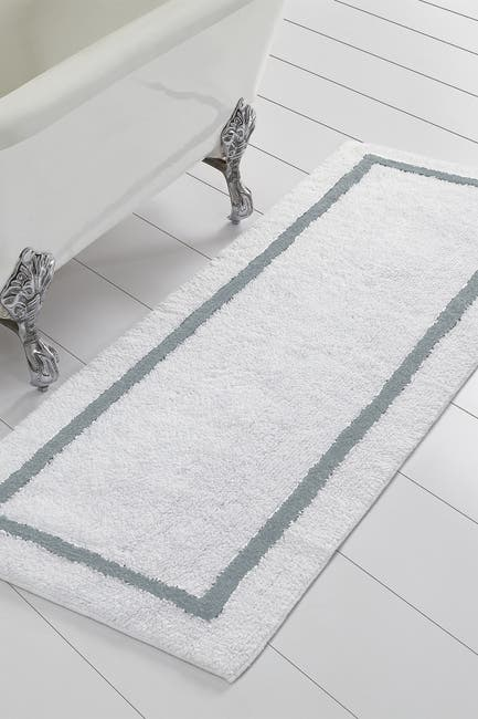 Image of Modern Threads Silver Reversible Contrast Stripe Bath Runner