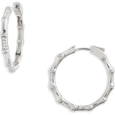 Sterling Forever Pave Carved Hoop Earrings