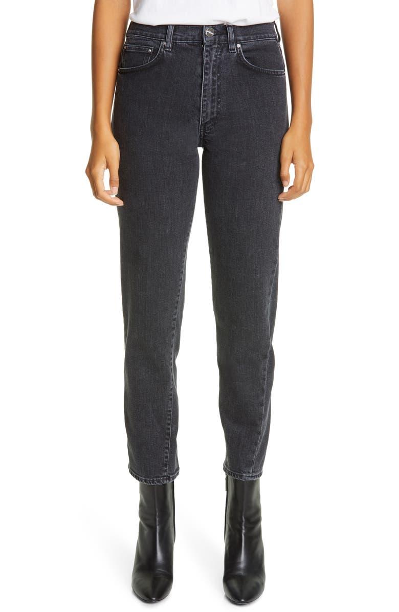 TOTÊME Twisted Seam High Waist Straight Leg Crop Jeans, Main, color, GREY WASH