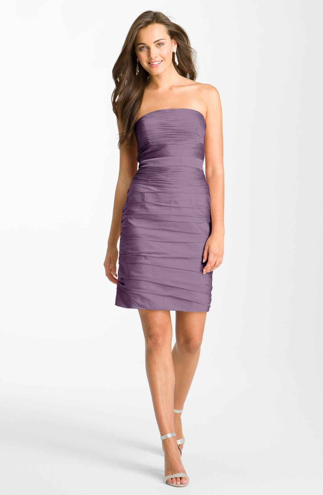 ,                             Ruched Strapless Cationic Chiffon Dress,                             Main thumbnail 53, color,                             503
