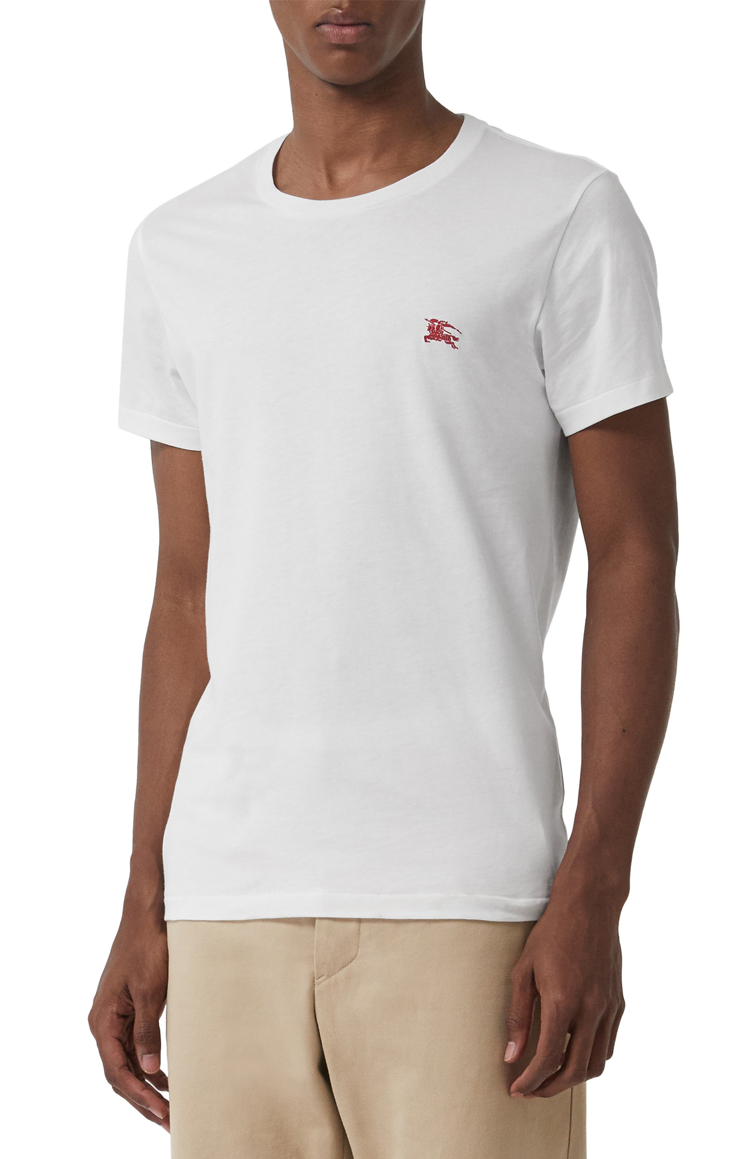 ,                             Logo Embroidered Crewneck T-shirt,                             Main thumbnail 1, color,                             TRUE WHITE
