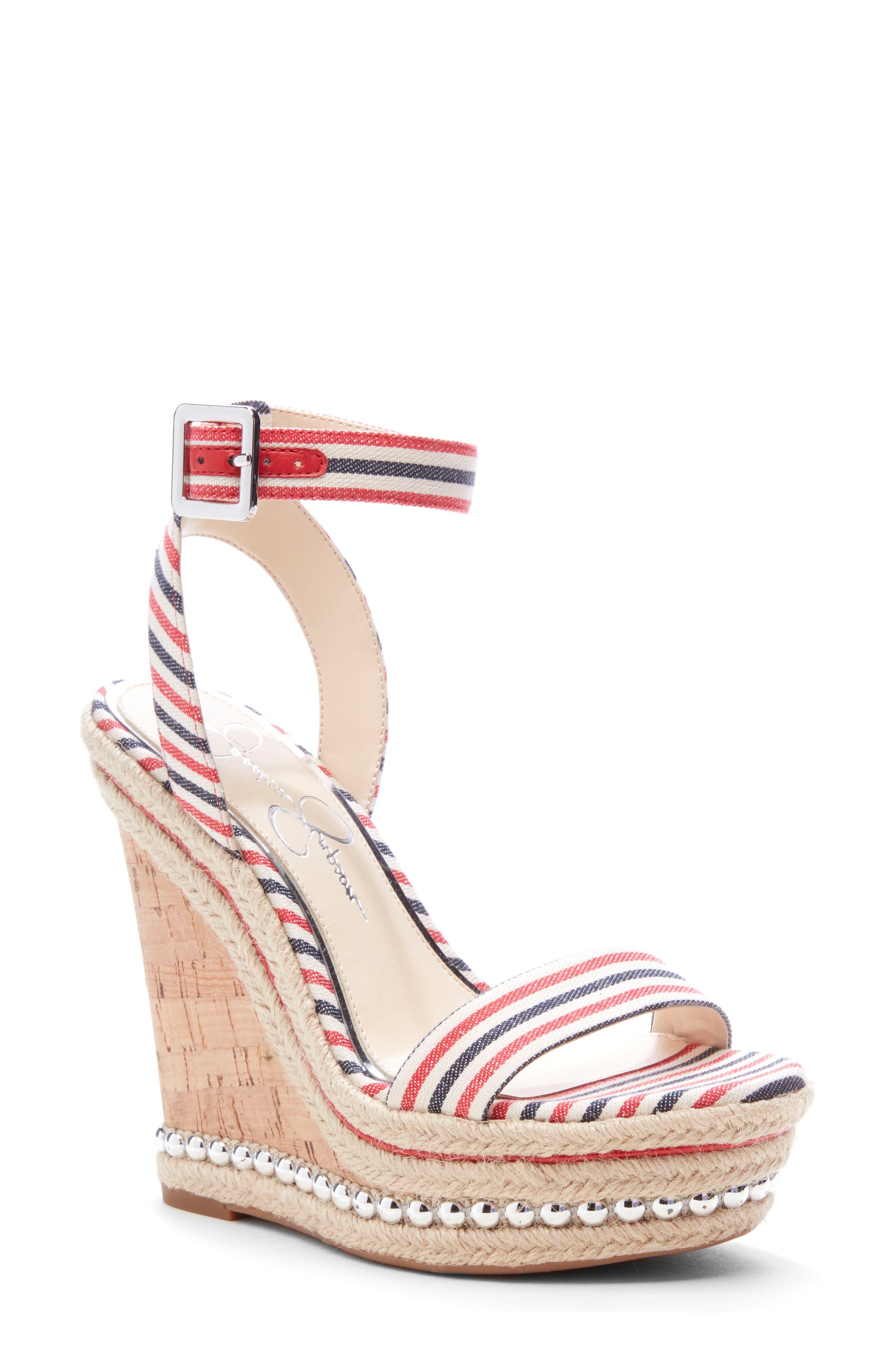 Jessica Simpson Alinda Embellished Wedge Sandal- Red