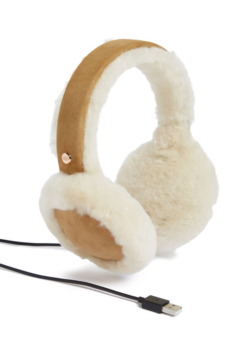 UGG<SUP>®</SUP> Collection Genuine Shearling Bluetooth<sup>®</sup> Earmuffs, Main, color, CHESTNUT