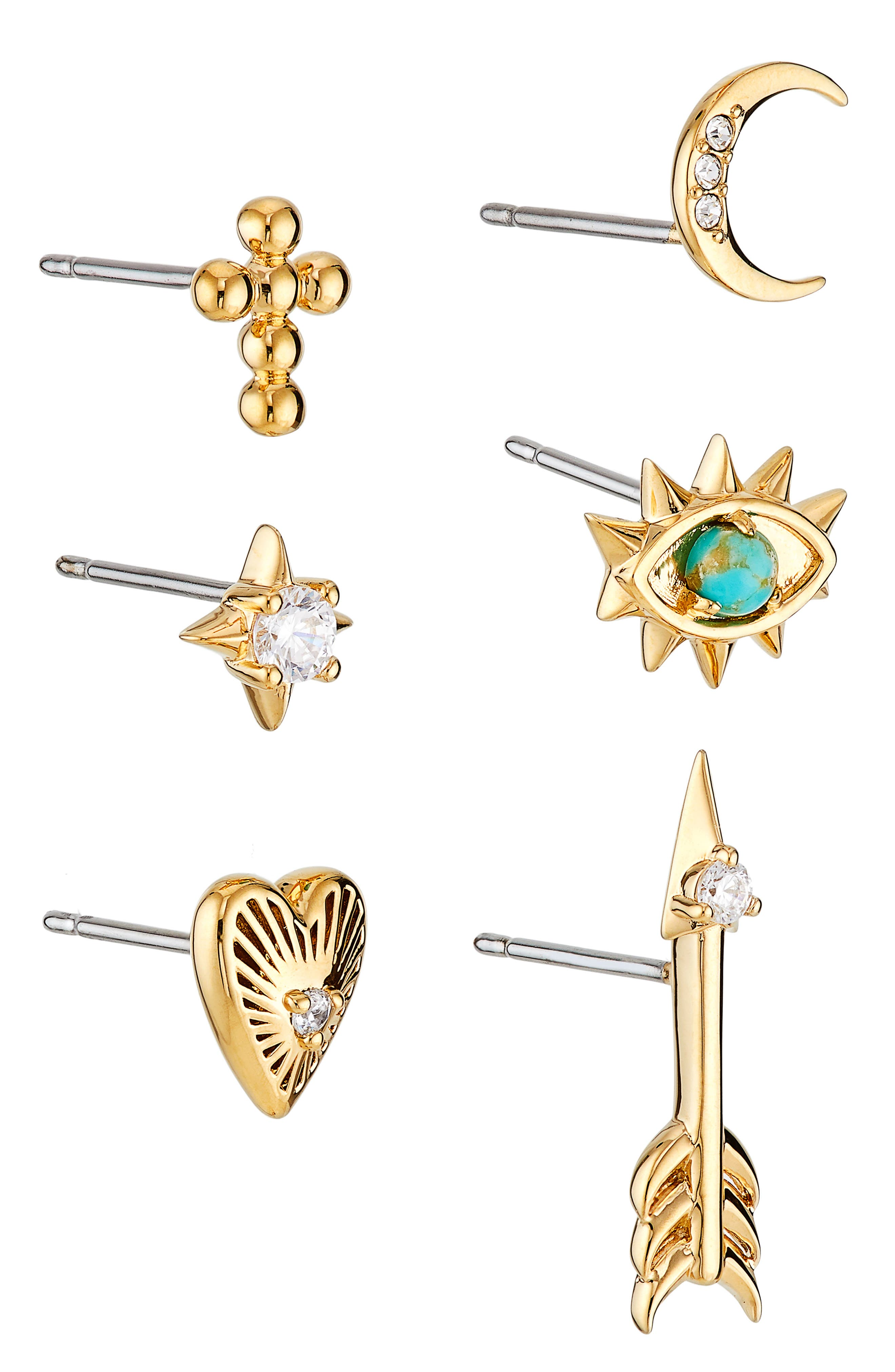 Set Of 5 Mismatched Stud Earrings