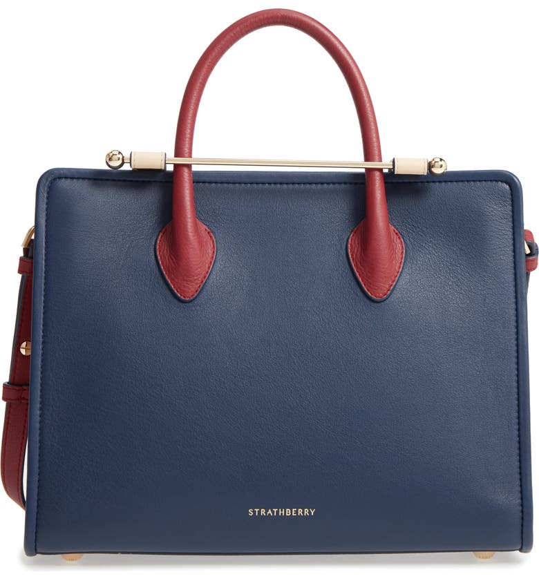 STRATHBERRY Tricolor Midi Leather Tote, Main, color, NAVY/ SAND/ EMBER