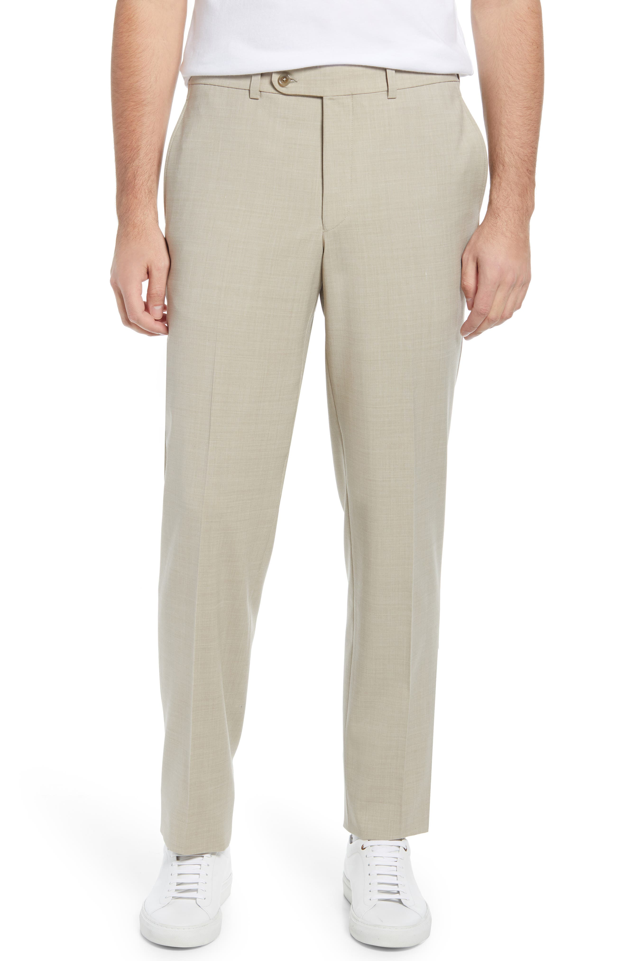 Men's Voyageur Solid Stretch Wool Blend Flat Front Dress Pants